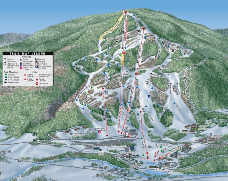Ascutney Mountain Resort Piste / Trail Map