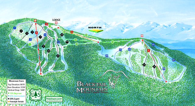 Blacktail Mountain Ski Area Piste / Trail Map