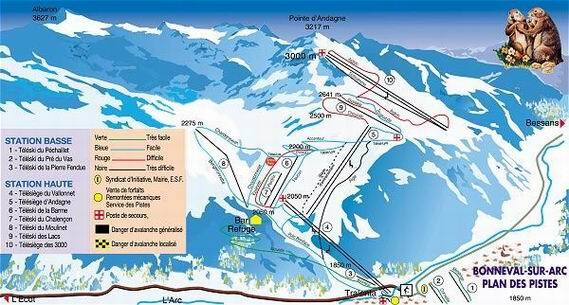 Bonneval sur Arc Piste / Trail Map