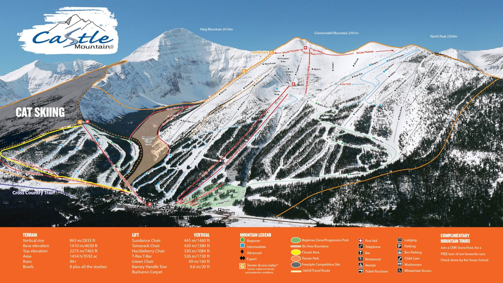 Castle Mountain Resort Piste / Trail Map