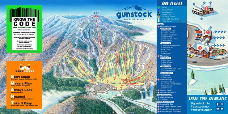 Gunstock Piste / Trail Map