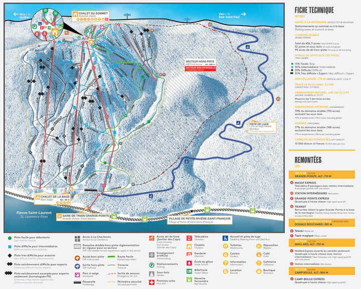 Le Massif Ski Area Piste / Trail Map