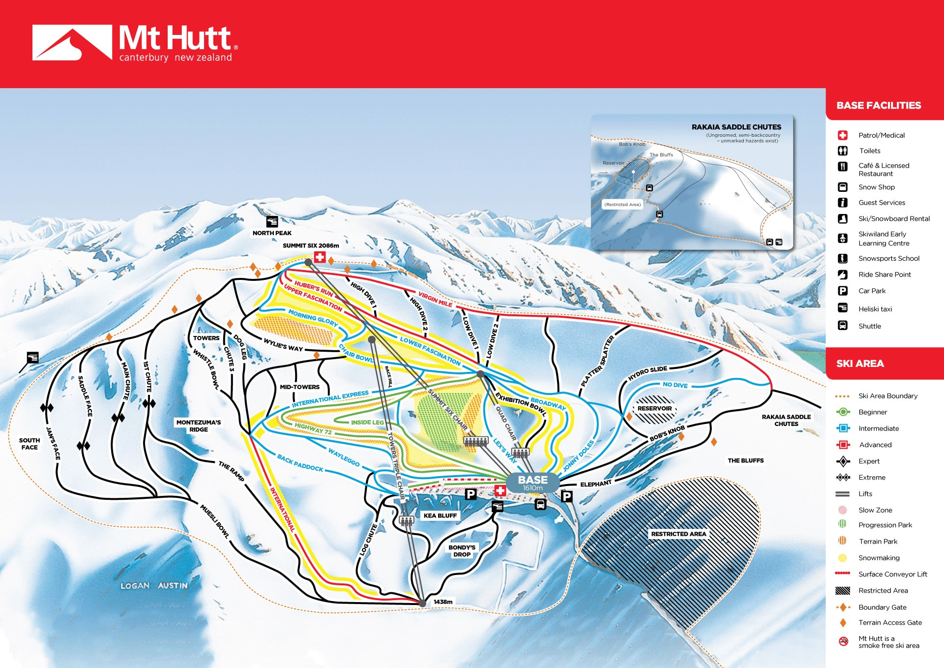 Mount Hutt Piste / Trail Map