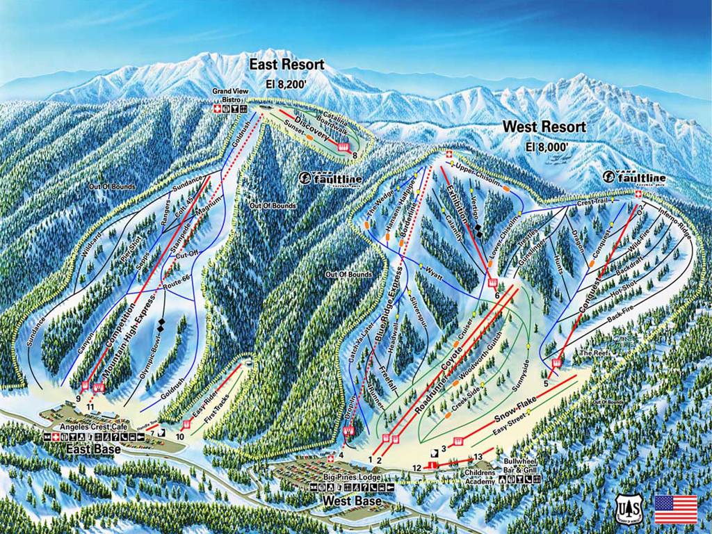 Mountain High resort Piste / Trail Map