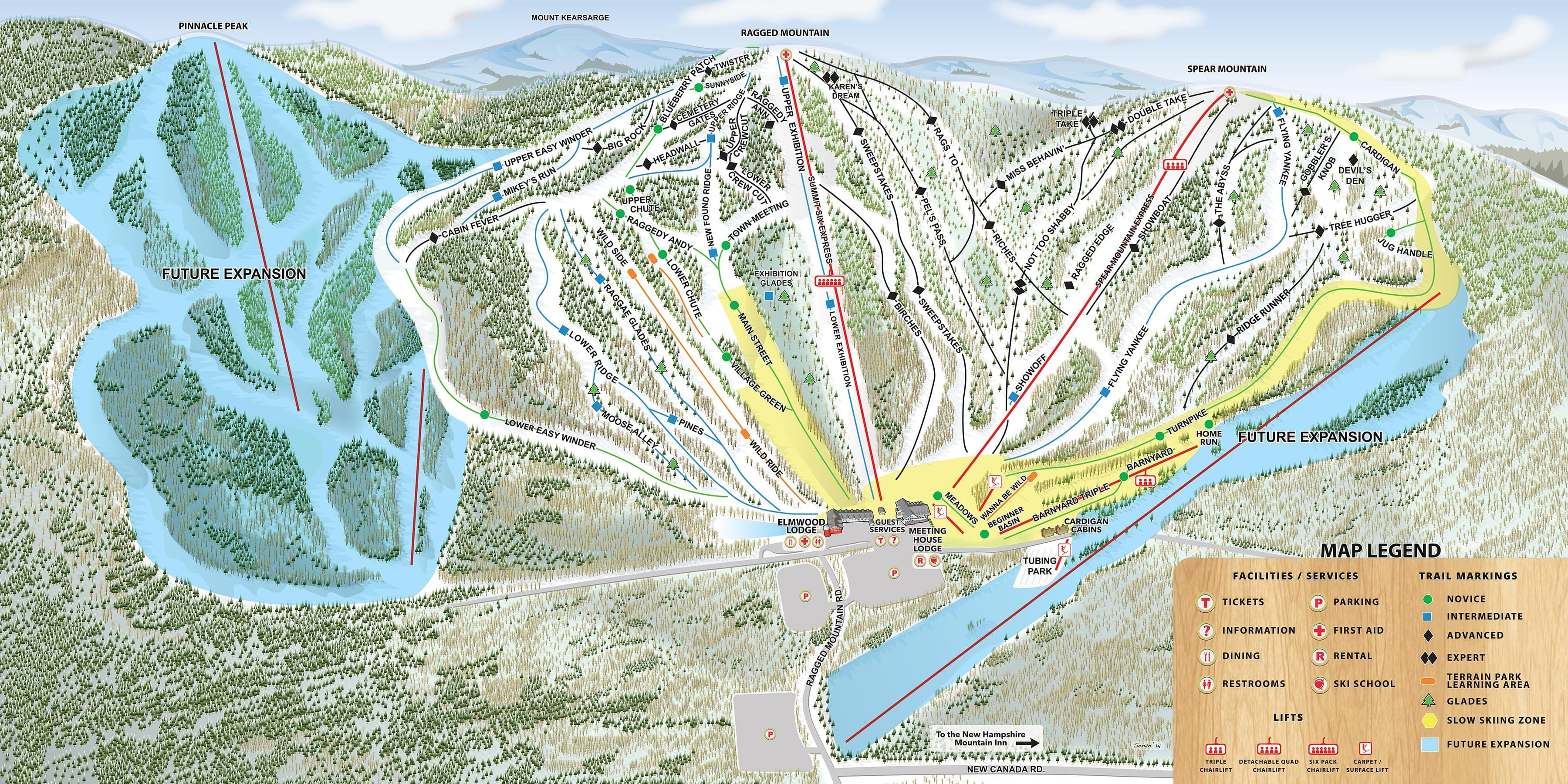 Ragged Mountain Resort Piste / Trail Map