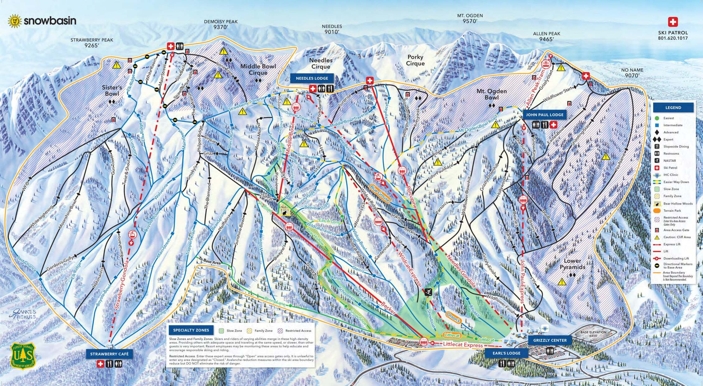 Snowbasin Piste / Trail Map