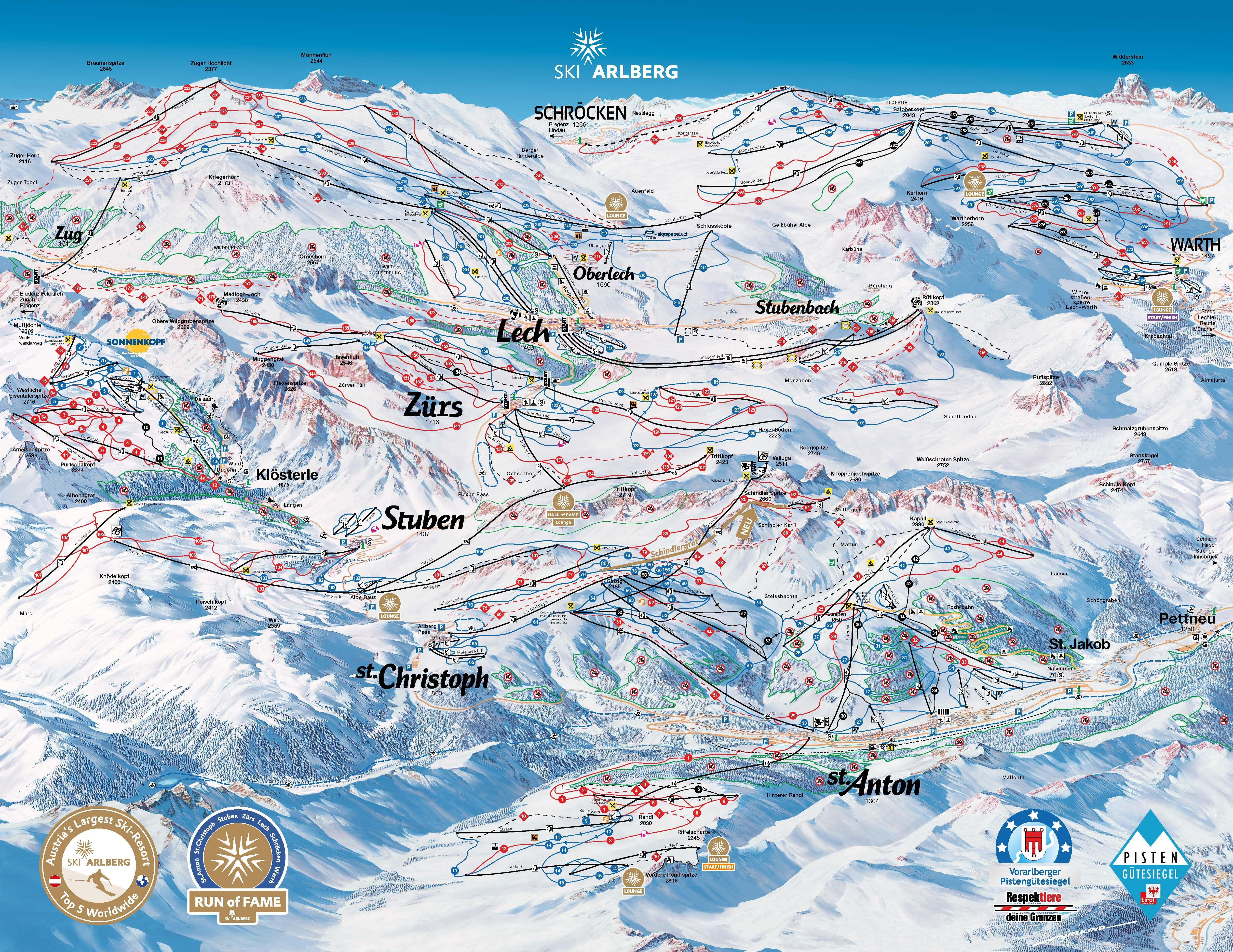 St Anton Piste / Trail Map