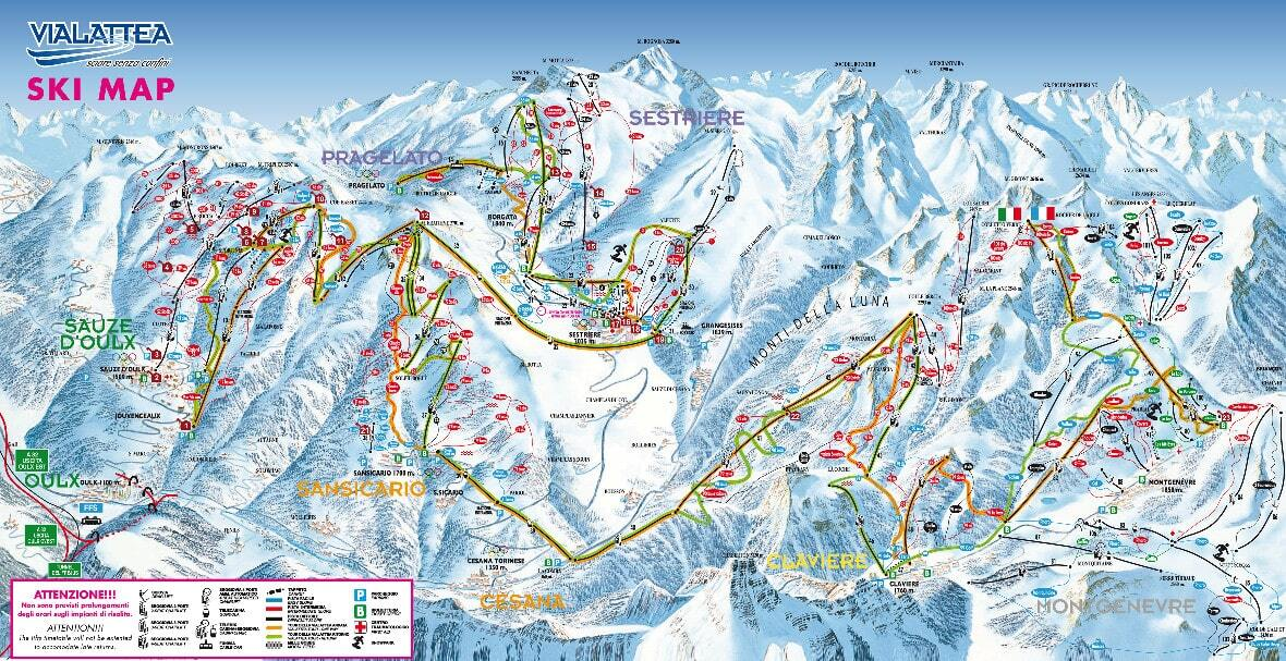 Cesana Torinese (Via Lattea) Piste / Trail Map