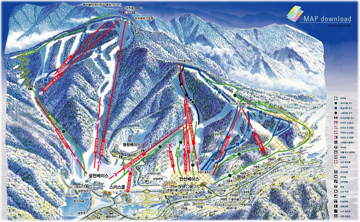 Muju Deogyusan Resort Piste / Trail Map