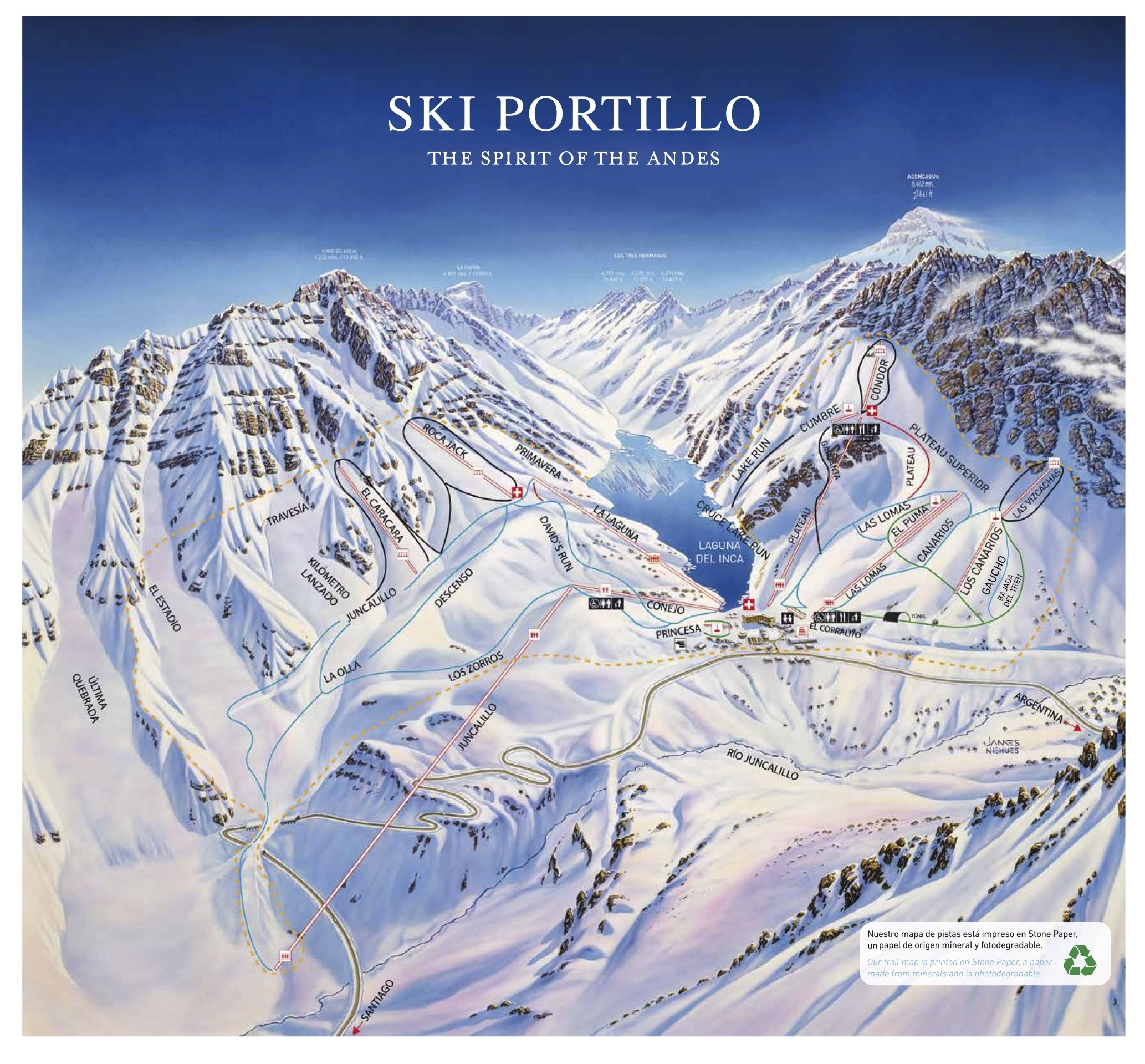 Portillo Piste / Trail Map