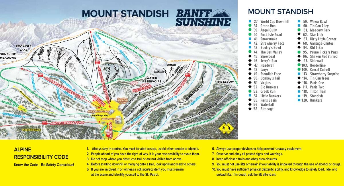 Sunshine Village Piste / Trail Map